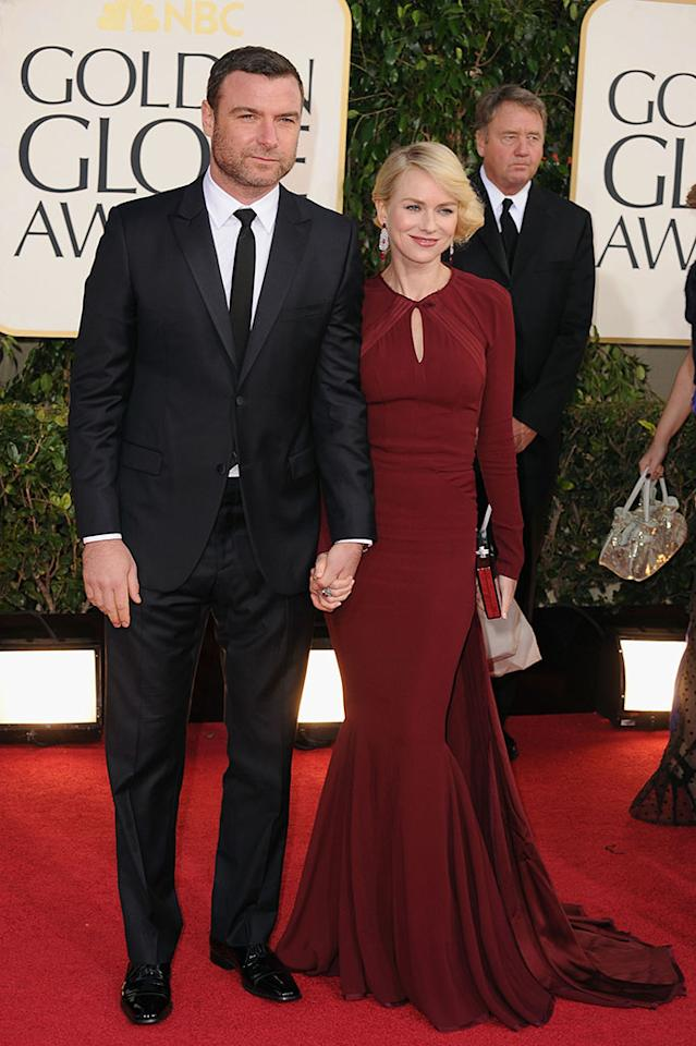 Liev Schreiber and Naomi Watts arrive at the 70th Annual Golden Globe Awards at the Beverly Hilton in Beverly Hills, CA on January 13, 2013.