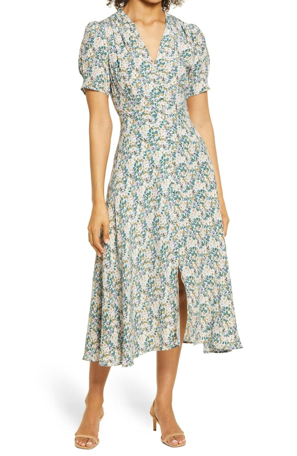 <p>Pair this <span>Floret Studios Floral Button Front Midi Dress</span> ($98) with a pair of strappy heels, and you're ready for your next brunch.</p>