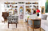"""<p>Wow. Now this is how you decorate open shelves. Covered in a fresh coat of paint to blend in with the surrounding walls, the whole room feels more open and spacious. Interior designer Shaun Smith put some antique books on display and also created visual intrigue by hanging artwork over the wall between the shelves. </p><p><em><a href=""""https://www.housebeautiful.com/design-inspiration/house-tours/g15947887/shaun-smith-house-tour/"""" rel=""""nofollow noopener"""" target=""""_blank"""" data-ylk=""""slk:See more at House Beautiful »"""" class=""""link rapid-noclick-resp"""">See more at House Beautiful »</a></em></p><p><strong>What you'll need: </strong>White paint, $26, <a href=""""https://www.amazon.com/Rust-Oleum-332120-Simply-Semi-Gloss-Interior/dp/B07CBNBPG2/ref=sr_1_36?keywords=white+paint+interior&qid=1553275286&s=gateway&sr=8-36&tag=syn-yahoo-20&ascsubtag=%5Bartid%7C10072.g.36006557%5Bsrc%7Cyahoo-us"""" rel=""""nofollow noopener"""" target=""""_blank"""" data-ylk=""""slk:Amazon.com"""" class=""""link rapid-noclick-resp"""">Amazon.com</a></p>"""