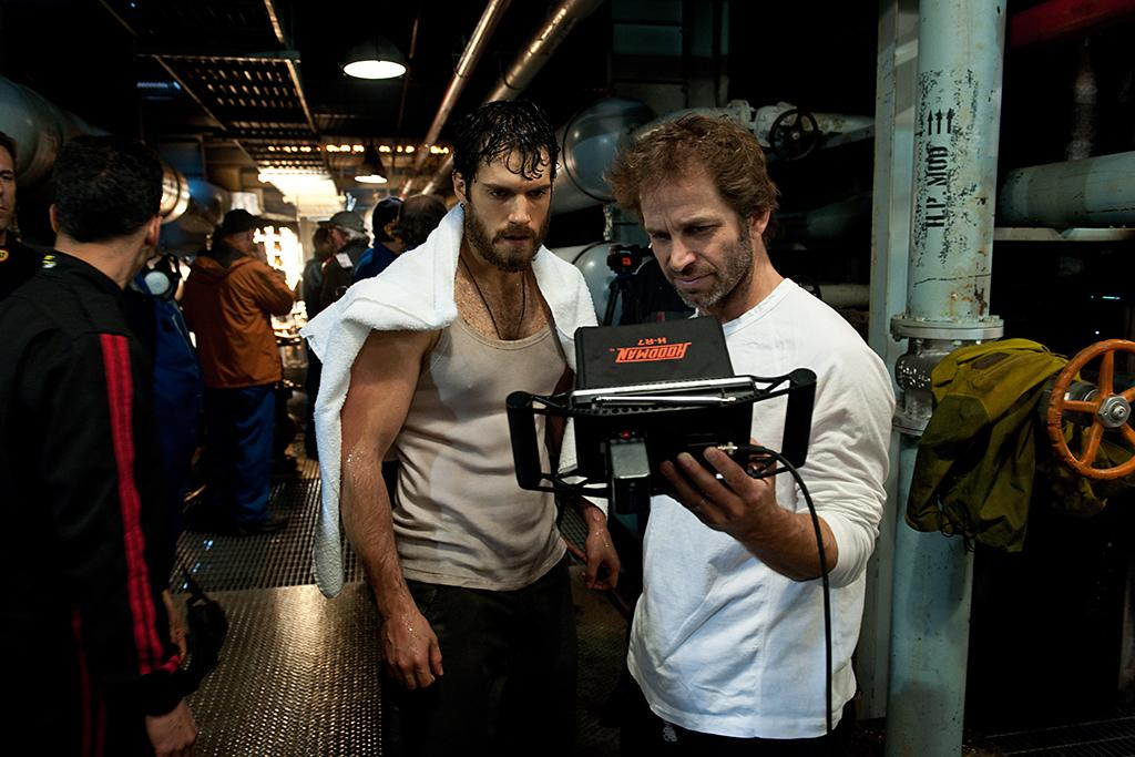 (L-r) HENRY CAVILL and director ZACK SNYDER on the set of Warner Bros. Pictures? and Legendary Pictures? action adventure ?MAN OF STEEL,? a Warner Bros. Pictures release.