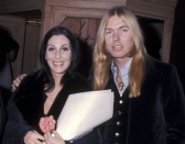 """<p><a href=""""https://ew.com/article/1992/07/10/gregg-allman-and-chers-troubled-marriage/"""" rel=""""nofollow noopener"""" target=""""_blank"""" data-ylk=""""slk:Cher married musician Gregg Allman"""" class=""""link rapid-noclick-resp"""">Cher married musician Gregg Allman</a>, co-founder of The Allman Brothers Band, in 1975, four days after finalising her divorce from Sonny Bono. Yet, nine days after the pair tied the knot, Cher filed for divorce – citing his heroin and liquor problems as the reason. However, a month later, they reconciled, and stayed married up until 1979 when they finalised their divorce. <em>[Photo: Getty]</em> </p>"""