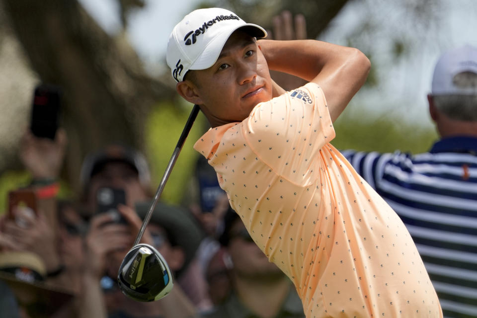 Collin Morikawa watches his tee shot on the seventh hole during a practice round at the PGA Championship golf tournament on the Ocean Course Tuesday, May 18, 2021, in Kiawah Island, S.C. (AP Photo/David J. Phillip)