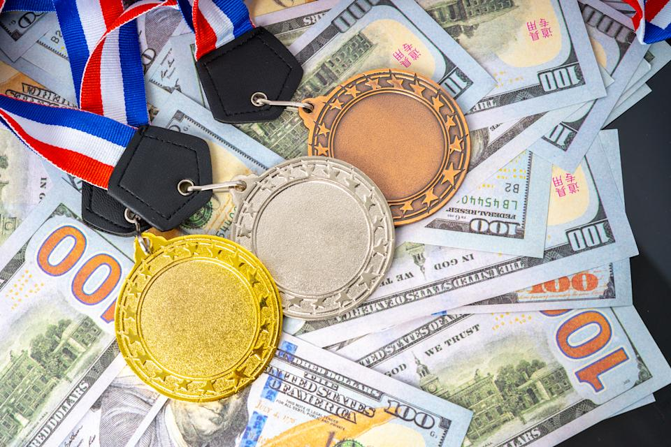 Medals and white background with successful concept.