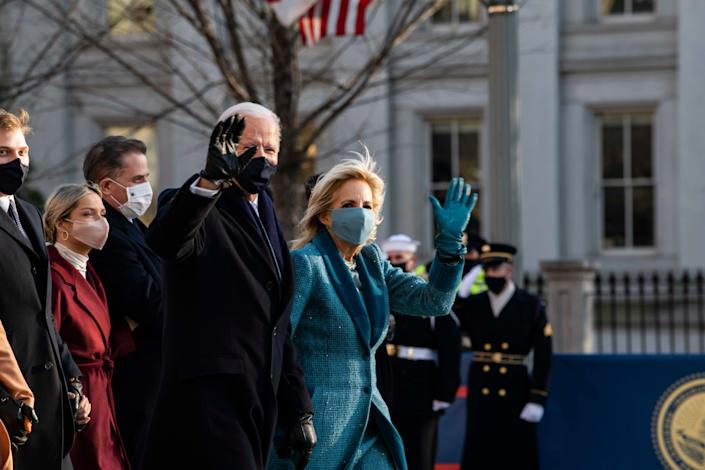President Joe Biden and Dr. Jill Biden arrive at the White House after his inauguration.
