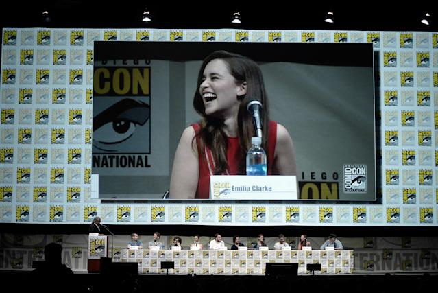 "Emilia Clarke speaks onstage during the ""Game of Thrones"" panel at Comic-Con International 2013 at San Diego Convention Center on July 19, 2013 in San Diego, California."