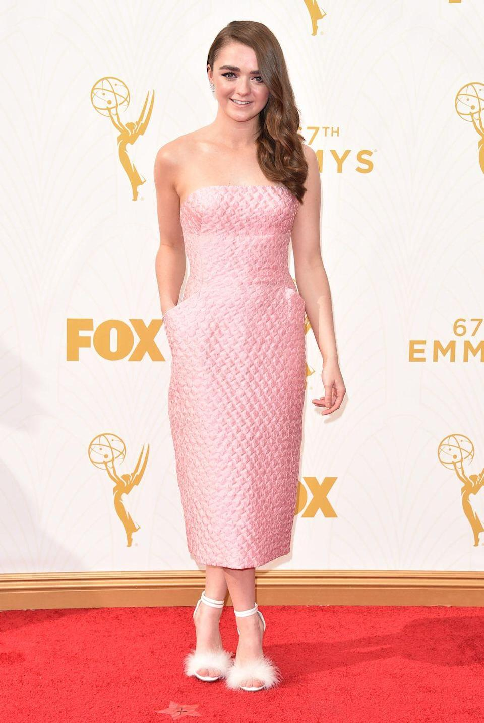 <p>Williams looked adorable in this pink gown at the 2015 Emmy Awards. </p>