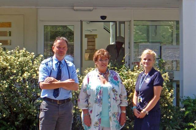 Ann Veit (centre) with with her GP Dr Phil Taylor (left) and specialist stop smoking adviser Lucy Drury (right)