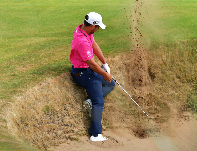 Xander Schauffele in a bit of trouble. (Getty)