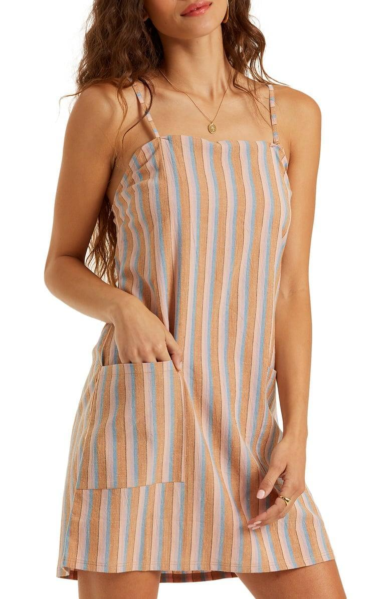 "<p>Throw on this <a href=""https://www.popsugar.com/buy/Billabong-Straight-Round-Minidress-576334?p_name=Billabong%20Straight%20Round%20Minidress&retailer=shop.nordstrom.com&pid=576334&price=46&evar1=fab%3Aus&evar9=47495570&evar98=https%3A%2F%2Fwww.popsugar.com%2Fphoto-gallery%2F47495570%2Fimage%2F47496466%2FBillabong-Straight-Round-Minidress&list1=shopping%2Cdresses%2Csummer%20fashion%2Cfashion%20shopping&prop13=api&pdata=1"" class=""link rapid-noclick-resp"" rel=""nofollow noopener"" target=""_blank"" data-ylk=""slk:Billabong Straight Round Minidress"">Billabong Straight Round Minidress </a> ($46) with a classic white tee underneath.</p>"