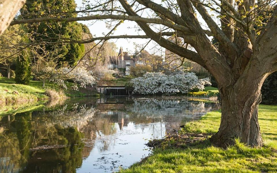 Little Malvern Court framed by mature trees and the white blossom of Prunus 'Shirotae' hanging over one of the garden's five large ponds - Carole Drake