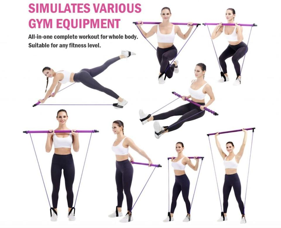 Examples of exercises you can do with the Viajero kit. Credit: Amazon