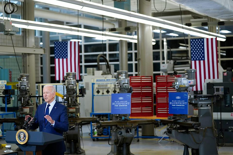 President Joe Biden delivers remarks on the economy at the Cuyahoga Community College Metropolitan Campus, Thursday, May 27, 2021, in Cleveland.