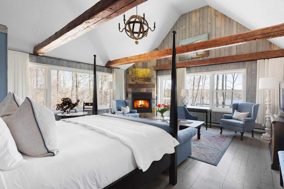 A guest room at the Manoir Hovey, voted one of the best hotels in the world