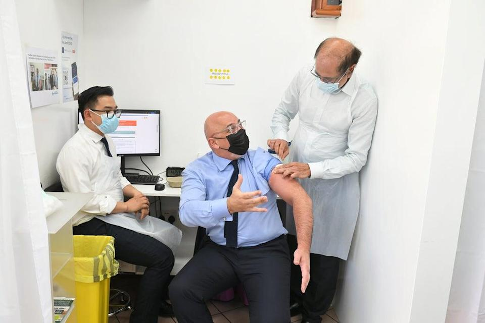 Nadhim Zahawi, while Vaccines Minister, receives his second dose of the Covid-19 vaccination (Dominic Lipinski/PA) (PA Wire)