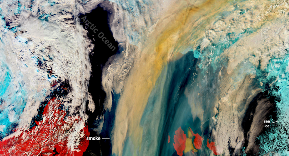 Extreme weather has led to unprecedented wildfires in Siberia, with smoke seen here billowing over the Arctic Ocean. Source: European Union, Copernicus Sentinel-3 imagery