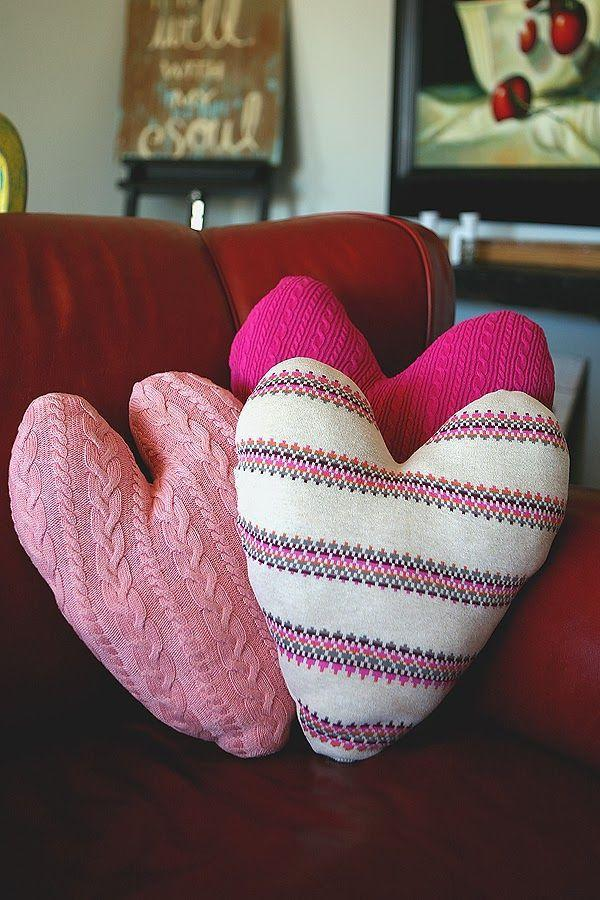 """<p>Don't throw out your old sweaters! Put them to good use and create these warm and fluffy sweater pillows. </p><p><strong>Get the tutorial at <a href=""""http://eighteen25.com/2014/01/sweater-heart-pillows/"""" rel=""""nofollow noopener"""" target=""""_blank"""" data-ylk=""""slk:Eighteen 25"""" class=""""link rapid-noclick-resp"""">Eighteen 25</a>.</strong> </p><p><strong><a class=""""link rapid-noclick-resp"""" href=""""https://www.amazon.com/Fairfield-PF12A-Poly-Fil-Polyester-12-Ounce/dp/B000YZ7G44?tag=syn-yahoo-20&ascsubtag=%5Bartid%7C10050.g.2971%5Bsrc%7Cyahoo-us"""" rel=""""nofollow noopener"""" target=""""_blank"""" data-ylk=""""slk:SHOP POLY-FIL"""">SHOP POLY-FIL</a><br></strong></p>"""