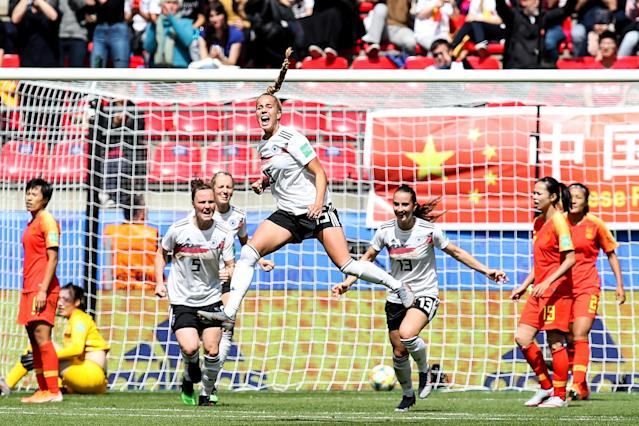 #15 Giulia Gwinn of Germany celebraters her scoring during the 2019 FIFA Women's World Cup France group B match between Germany and China PR at Roazhon Park on June 08, 2019 in Rennes, France. (Photo by Zhizhao Wu/Getty Images)