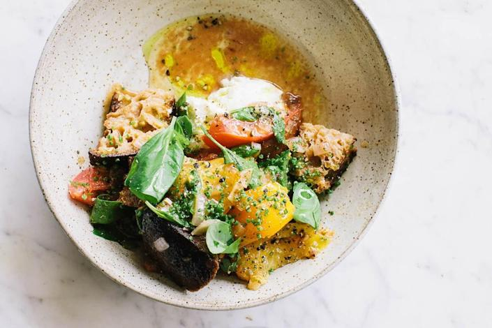"""<a href=""""https://www.bonappetit.com/recipe/fried-bread-panzanella-with-ricotta-and-herbs?mbid=synd_yahoo_rss"""" rel=""""nofollow noopener"""" target=""""_blank"""" data-ylk=""""slk:See recipe."""" class=""""link rapid-noclick-resp"""">See recipe.</a>"""