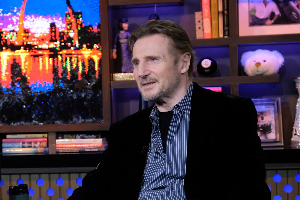 WATCH WHAT HAPPENS LIVE WITH ANDY COHEN -- Episode 17033 -- Pictured: Liam Neeson -- (Photo by: Charles Sykes/Bravo/NBCU Photo Bank via Getty Images)
