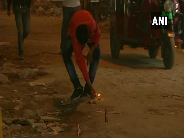 On the occasion of Diwali, people in the national capital were seen bursting firecrackers on Saturday.