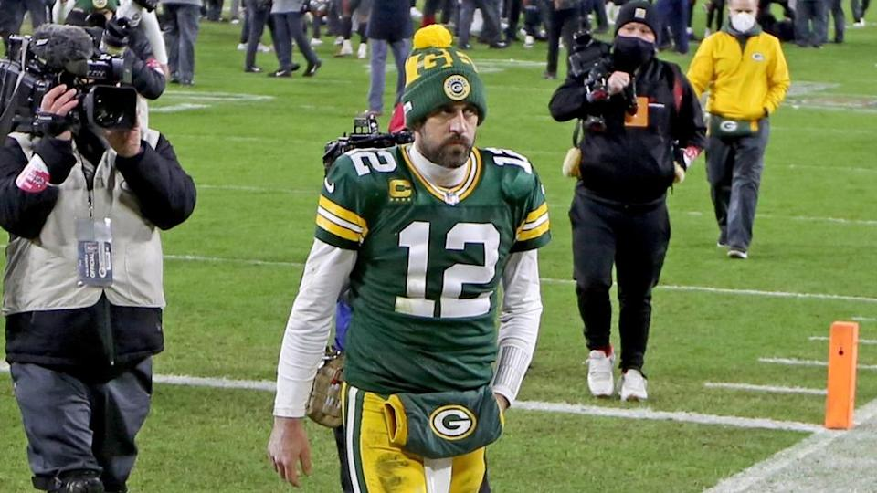 Aaron Rodgers Packers walks off field NFC Title Game 2020
