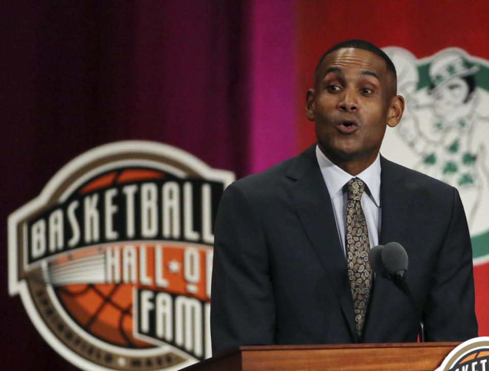 FILE - In this Sept. 7, 2018 file photo, Grant Hill speaks during induction ceremonies at the Basketball Hall of Fame in Springfield, Mass. USA Basketball announced Saturday, April 3, 2021, that Hill will take over as managing director of the men's national team after this summer's Tokyo Olympics. (AP Photo/Elise Amendola, File)