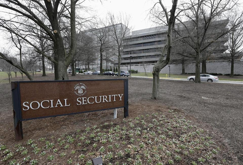 FILE - This Jan. 11, 2013 file photo shows the Social Security Administration's main campus in Woodlawn, Md. Congressional investigators say Social Security has made more than $1 billion in improper disability payments to people who had jobs when they were supposed to be unable to work. In a report issued Friday, the Government Accountability Office estimated that 36,000 workers got improper payments from December 2010 to January 2013. (AP Photo/Patrick Semansky, File)