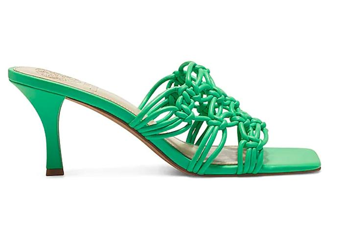 green heels, square toe, vince camutoo