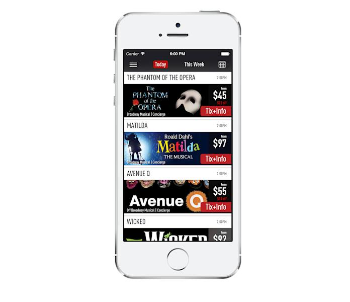 This image released by The O+M Company shows the TodayTix app. TodayTix, a new ticket-purchasing mobile app created by a team of theater producers and ticketing veterans, hopes to bring Broadway into the 21st Century. Its creators hope to reduce the time from customers picking a show to getting confirmation of their tickets to just 30 seconds. (AP Photo/The O+M Company)