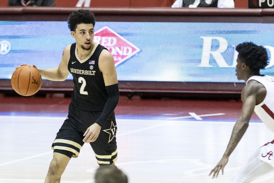 Vanderbilt guard Scotty Pippen Jr. (2) works the perimeter against Alabama during the first half of an NCAA basketball game on Saturday, Feb. 20, 2021, in Tuscaloosa, Ala. (AP Photo/Vasha Hunt)