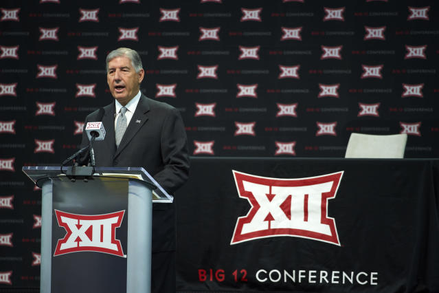 Big 12 commissioner Bob Bowlsby speaks during NCAA college football Big 12 media days in Frisco, Texas, Monday, July 16, 2018. (AP)