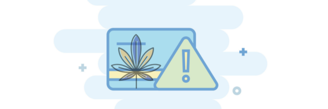 Illustration of a credit card with a caution sign and cannabis leaf.