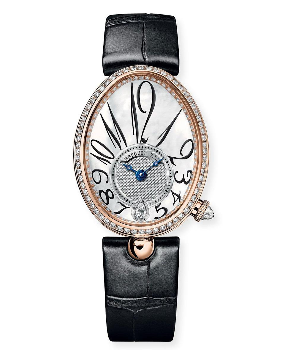 """<p><strong>Breguet 18-Karat Rose Gold Diamond-Bezel Watch with Alligator Strap</strong></p><p>neimanmarcus.com</p><p><strong>$180.00</strong></p><p><a href=""""https://go.redirectingat.com?id=74968X1596630&url=https%3A%2F%2Fwww.neimanmarcus.com%2Fp%2Fbreguet-18k-rose-gold-diamond-bezel-watch-w-alligator-strap-prod226360520&sref=https%3A%2F%2Fwww.harpersbazaar.com%2Ffashion%2Ftrends%2Fg30515430%2Fbest-watch-brands-for-women%2F"""" rel=""""nofollow noopener"""" target=""""_blank"""" data-ylk=""""slk:Shop Now"""" class=""""link rapid-noclick-resp"""">Shop Now</a></p><p>In the history of watchmaking, Breguet's reputation is unparalleled. Abraham-Louis Breguet is, after all, the mastermind behind the first wristwatch—a piece that was, no less, created for a woman. And not just any woman, but a queen. </p><p>As the story goes, Caroline Bonaparte Murat, Queen of Naples, and Napoleon Bonaparte's younger sister, was an avid collector of timepieces, amassing 34 in an age when watches were few and far between. It took 18 watchmakers two years to create her famous wristwatch, which featured straps made of gold threads and was ovoid in shape. And though modern-day versions of the Reine de Naples collection don't require that many hands, the attention to detail of the original has been carried on throughout the centuries. </p>"""