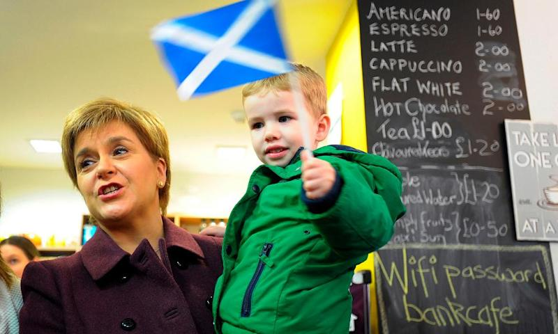 SNP leader Nicola Sturgeon campaigning on the outskirts of Glasgow last week. Her party may be poised to wrest the city from Labour