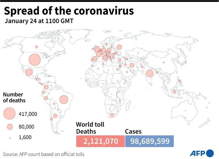 World map showing the number of Covid-19 deaths by country, as of Jan 24 at 1100 GMT