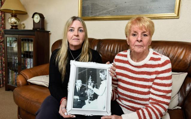 <span>Dawn (left) and Laraine Astle (right), daughter and widow of the late Jeff Astle</span> <span>Credit: Darren O'Brien </span>