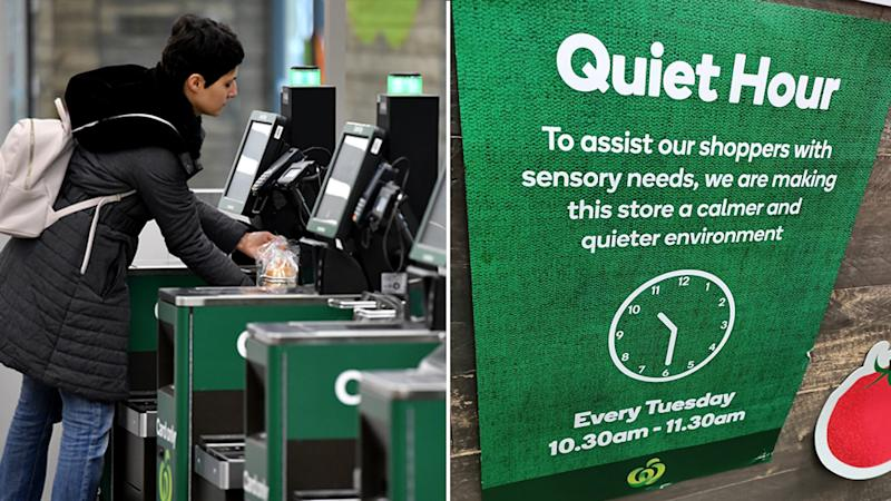 On the left is a stock image of a woman at self-serve registers. On the right is a Facebook photo of a sign announcing Woolworths' 'Quiet Hour' initiative.