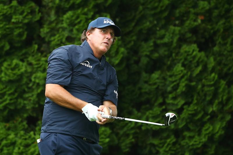 CROMWELL, CONNECTICUT - JUNE 21: Phil Mickelson of the United States plays his shot from the ninth tee during the second round of the Travelers Championship at TPC River Highlands on June 21, 2019 in Cromwell, Connecticut. (Photo by Tim Bradbury/Getty Images)