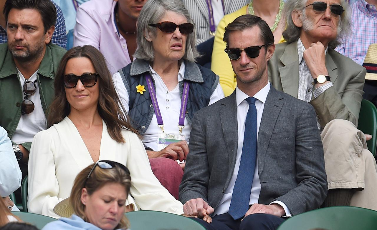 FILE PHOTO: London, Britain - July 14, 2017   Pippa Middleton and husband James Matthews in the stands on centre court  at Wimbledon.  REUTERS/Toby Melville/File Photo