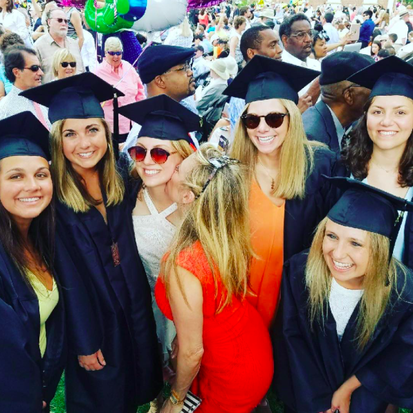 """<p>The <em>Real Housewives of New York</em> blonde gave her daughter, Avery, a kiss at her graduation from the University of Virginia on May 20. Right after the pomp and circumstance ended, Avery headed off with friends on a trip to Asia. Not a bad way to enter """"the real world."""" (Photo: Ramona Singer via Instagram ) </p>"""