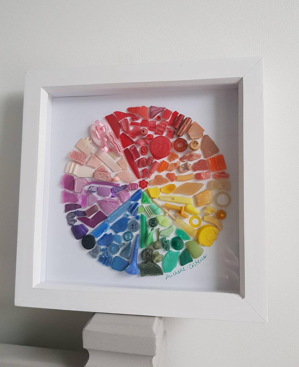 """<h3><a href=""""https://www.etsy.com/listing/458740536/small-colour-wheel-created-from-plastic"""" rel=""""nofollow noopener"""" target=""""_blank"""" data-ylk=""""slk:Etsy Recycled Beach Plastic Art"""" class=""""link rapid-noclick-resp"""">Etsy Recycled Beach Plastic Art</a></h3><br>One of the <a href=""""https://www.refinery29.com/en-us/2020/01/9148391/home-decor-trends-2020-products"""" rel=""""nofollow noopener"""" target=""""_blank"""" data-ylk=""""slk:forecasted home trends for 2020"""" class=""""link rapid-noclick-resp"""">forecasted home trends for 2020</a> has been top purchased into R29-reader reality: <a href=""""https://newsroom.pinterest.com/en/post/pinterest-100-the-top-trends-to-inspire-and-try-in-2020"""" rel=""""nofollow noopener"""" target=""""_blank"""" data-ylk=""""slk:ocean trash art"""" class=""""link rapid-noclick-resp"""">ocean trash art</a>. <br><br>This multicolored picture-sculpture is crafted from bits of hand-collected beach plastic by a UK-based artist — and with each purchase, a donation is made to the <a href=""""https://www.mcsuk.org/"""" rel=""""nofollow noopener"""" target=""""_blank"""" data-ylk=""""slk:Marine Conservation Society"""" class=""""link rapid-noclick-resp"""">Marine Conservation Society</a>.<br><br> Small Colour wheel created from Cornish beach plastic, $, available at <a href=""""https://www.etsy.com/listing/458740536/small-colour-wheel-created-from-plastic"""" rel=""""nofollow noopener"""" target=""""_blank"""" data-ylk=""""slk:Etsy"""" class=""""link rapid-noclick-resp"""">Etsy</a>"""