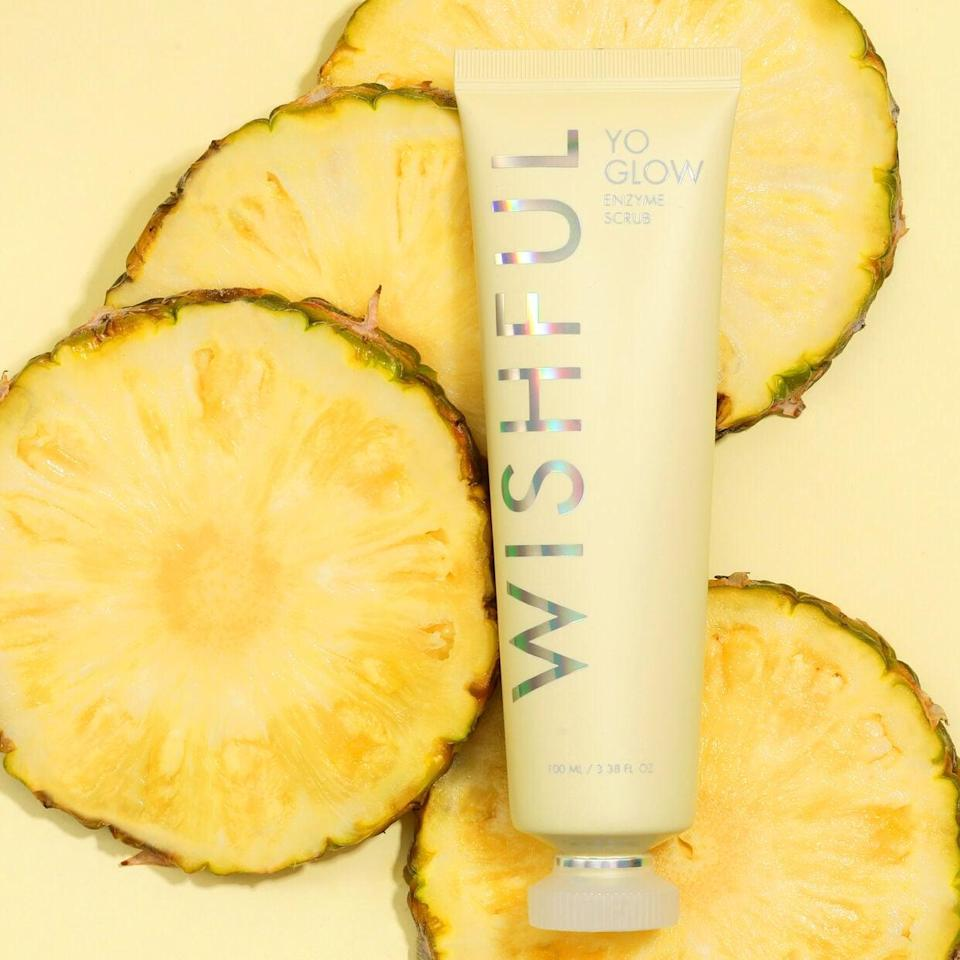 <p>The lightweight <span> Wishful Yo Glow Enzyme Scrub</span> ($39) will gently buff your skin for a smooth canvas. This is the perfect treatment to prep your skin for makeup application.</p>