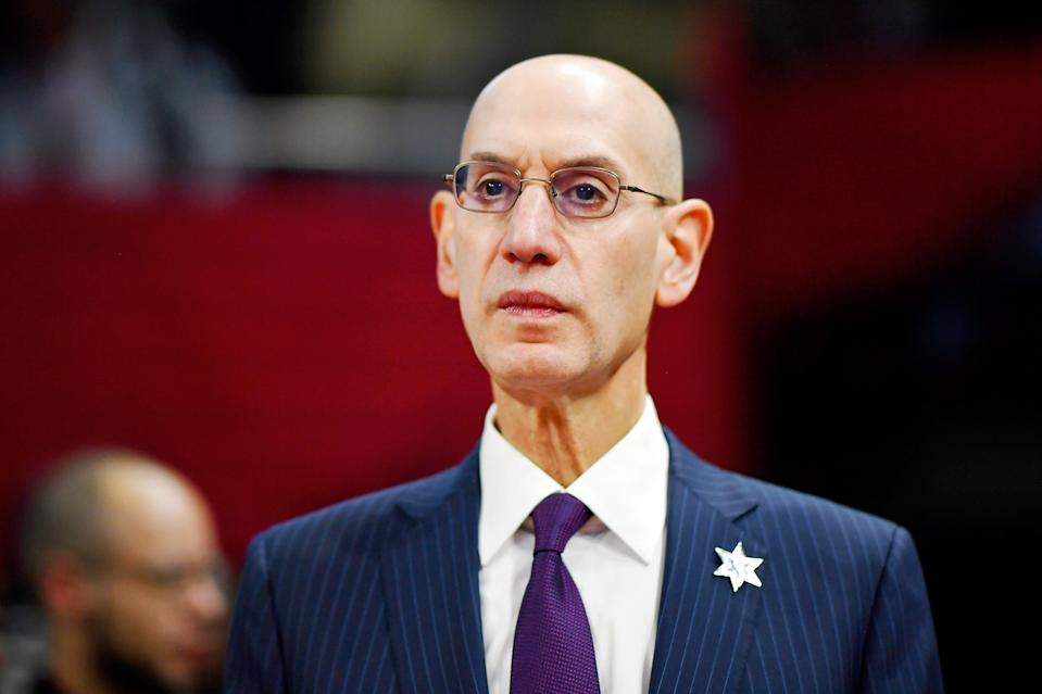 Feb 14, 2020; Chicago, Illinois, USA; NBA Commissioner Adam Silver looks on during the NBA All Star-Celebrity Game at Wintrust Arena. Mandatory Credit: Quinn Harris-USA TODAY Sports
