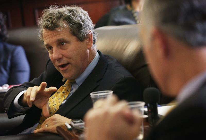 US Senator Sherrod Brown speaks to members of the media about the Pacific Rim Trade Deal on April 23, 2015 on Capitol Hill in Washington, DC (AFP Photo/Alex Wong)