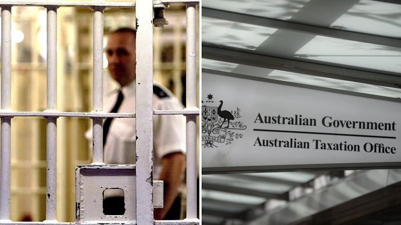 Jail bars on the left, Australian Taxation Office sign on the right.