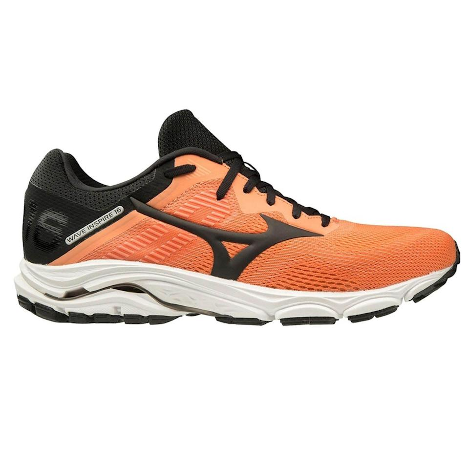 """<p><strong>Mizuno</strong></p><p>amazon.com</p><p><strong>$87.75</strong></p><p><a href=""""https://www.amazon.com/dp/B07QTVTQN8?tag=syn-yahoo-20&ascsubtag=%5Bartid%7C2141.g.36533538%5Bsrc%7Cyahoo-us"""" rel=""""nofollow noopener"""" target=""""_blank"""" data-ylk=""""slk:Shop Now"""" class=""""link rapid-noclick-resp"""">Shop Now</a></p><p>Middle of the line cushioning, lightweight, and supportive stability make this a great everyday trainer for runners who need a little extra support. The built-in Wave plate provides both arch support and responsiveness as it bends and flexes with every step. </p><p><a class=""""link rapid-noclick-resp"""" href=""""https://www.amazon.com/Mizuno-Womens-Inspire-Running-Blue-Silver/dp/B07QTVLVG9/ref=sr_1_4?dchild=1&keywords=wave+inspire&qid=1621604135&sr=8-4&tag=syn-yahoo-20&ascsubtag=%5Bartid%7C2141.g.36533538%5Bsrc%7Cyahoo-us"""" rel=""""nofollow noopener"""" target=""""_blank"""" data-ylk=""""slk:Buy Women's"""">Buy Women's </a></p>"""