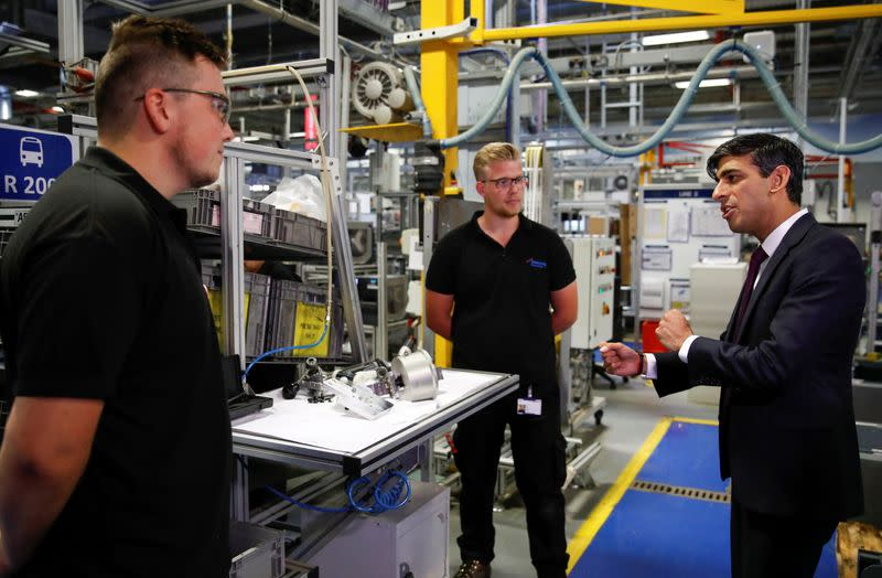 FILE PHOTO: Chancellor of the Exchequer Rishi Sunak visits the Worcester Bosch factory in Worcester