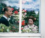 <p>The royal couple in a greenhouse at the Balmoral Castle in Scotland where they celebrated their 25th wedding anniversary. </p>