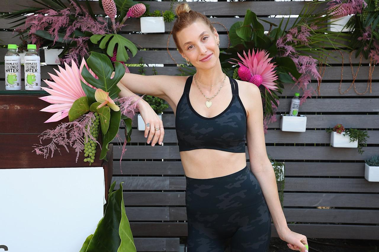 On Saturday, Whitney Port takes a break at a Punch Pedal class at the Montauk Beach House in New York.