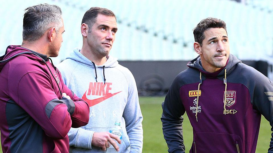 Legends Cam Smith and Billy Slater are seen here during a training session with the Maroons.